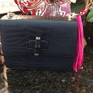 NWT. Neiman Marcus snakeskin pattern purse